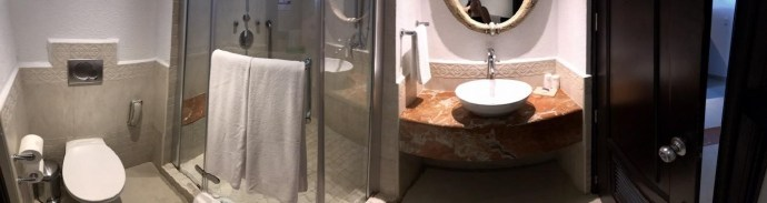 廁所裡浴室有一般淋浴跟SPA噴頭