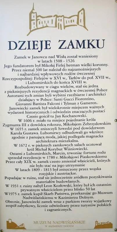 Historia zamku w Janowcu