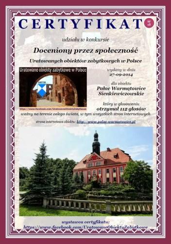 Osiemnasty certyfikat dla Pałacu Warmątowice Sienkiewiczowskie http://www.palac-warmatowice.pl/