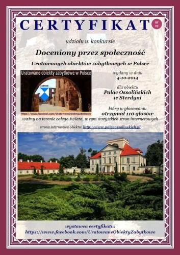 Dziewiętnasty certyfikat - Pałac Ossolińskich w Sterdyni -http://www.palacossolinskich.pl