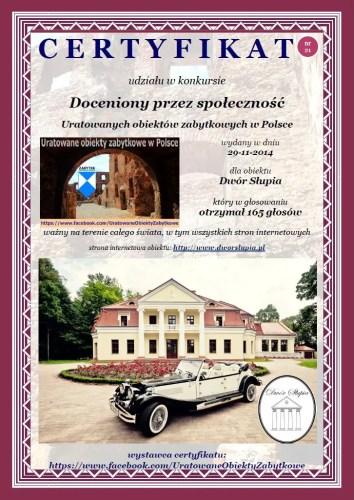 Dwudziesty pierwszy certyfikat uznania - Dwór Słupia - http://www.dworslupia.pl