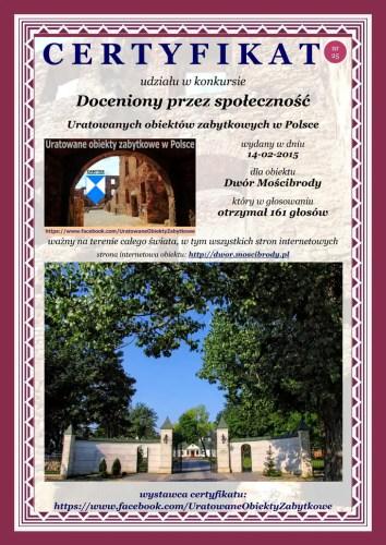 Dwudziesty piąty certyfikat - Dwór Mościbrody - http://dwor.moscibrody.plDwudziesty piąty certyfikat - Dwór Mościbrody - http://dwor.moscibrody.pl