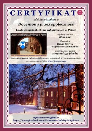 Dwudziesty siódmy certyfikat - Dwór Górny - http://dworgorny.pl