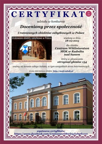 Dwudziesty dziewiąty certyfikat - Centrum Wikliniarstwa MOK w Rudniku nad Sanem - http://mokrudnik.pl