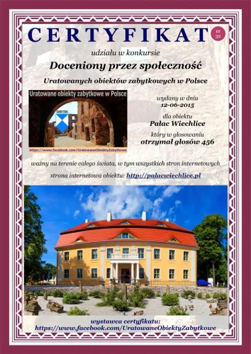 Trzydziesty drugi certyfikat - Pałac Wiechlice - http://palacwiechlice.pl