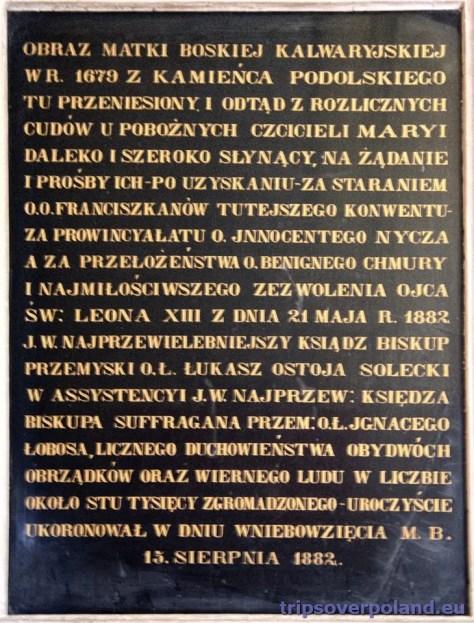 Kalwaria Pacławska - cudowny obraz - historia