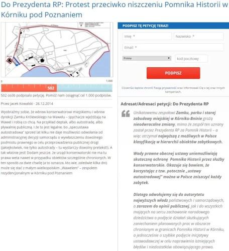 W ciągu kilku godzin petycję podpisało już ponad 500 osób:
