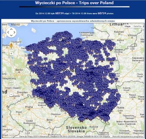 Mapa odwiedzonych miejsc