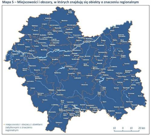 Miejscowości i obszary, w których znajdują się obiekty o znaczeniu regionalnym