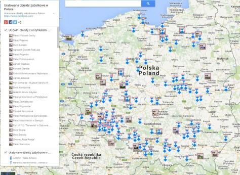 Uratowane obiekty zabytkowe w Polsce - mapa