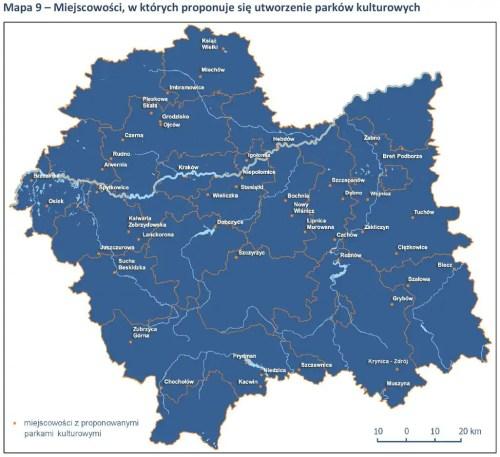 miejscowości, w których proponuje się utworzenie parków kulturowych