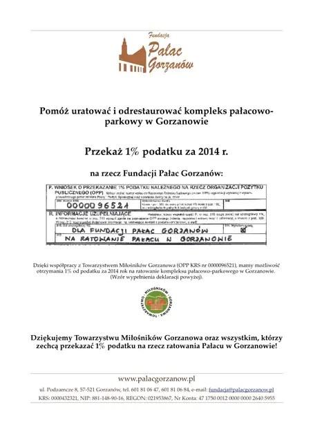 Pałac Gorzanów - wspomóż 1% swojego podatku