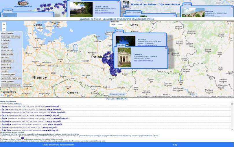 Wyszukiwarka uproszczona pełnoekranowa - wyszukiwanie dla wybranego województwa