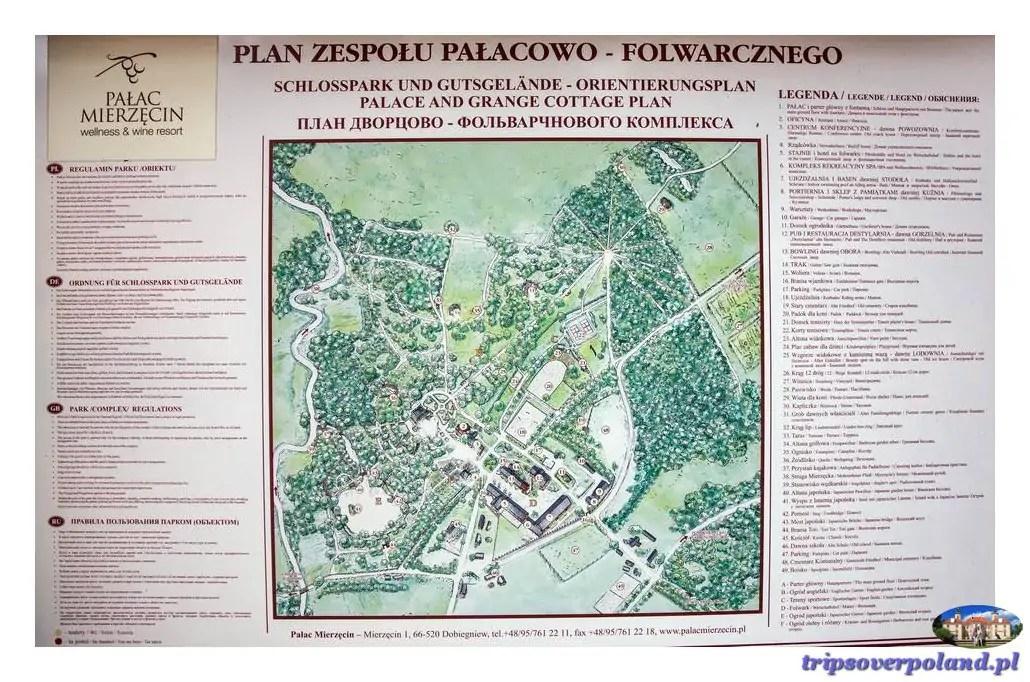 Mierzęcin - plan zespołu pałacowo - folwarcznego