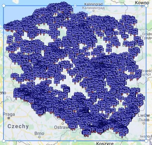 Mapa - 2165 miejsc