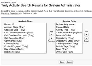 Salesforce Search Configuration Filters