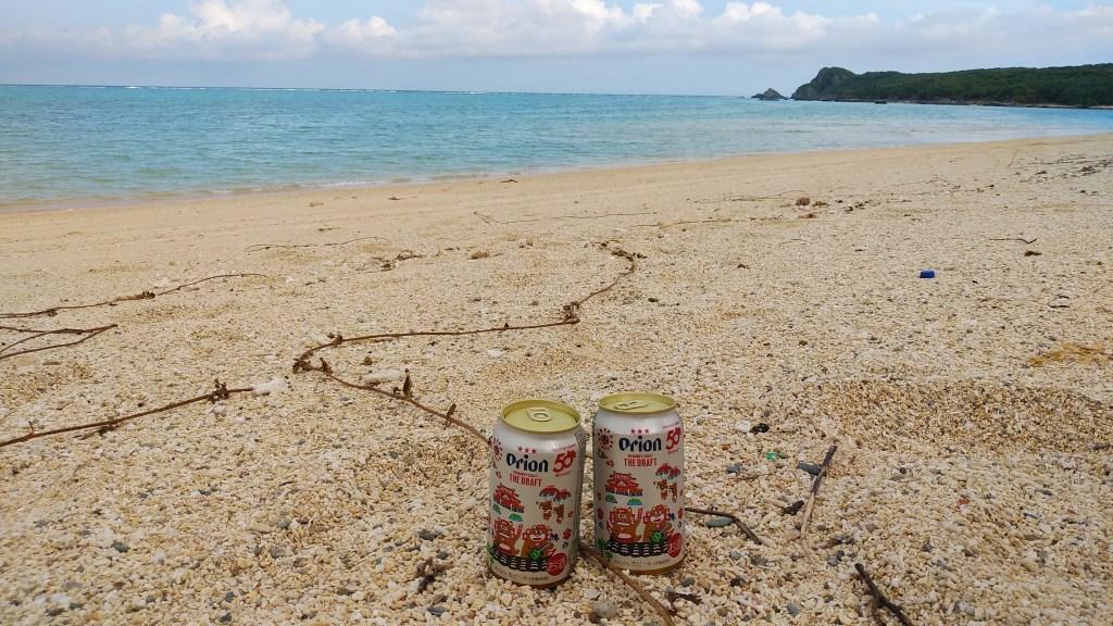 明石海岸とオリオンビール