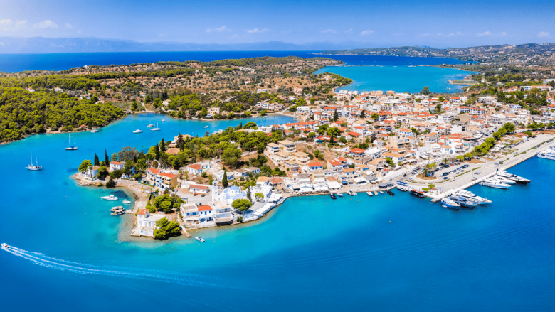 Panoramic view of the port and city of Porto Cheli in Greece