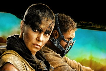 Charlize Theron and Tom Hardy in dystopian film Mad Max Fury Road