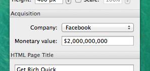 Facebook acquisition for 2 Billion