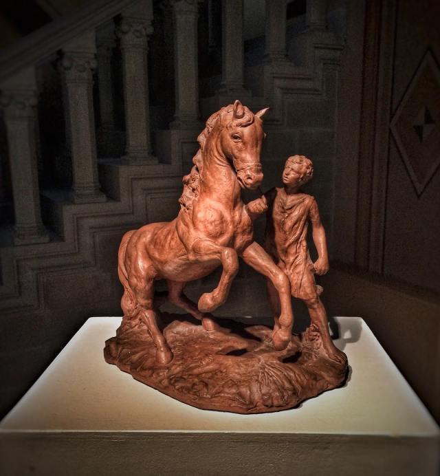 Giorgio de Chirico, Horse and rider, 1939-40, terracotta sculpture, credits Riccardo Serafini