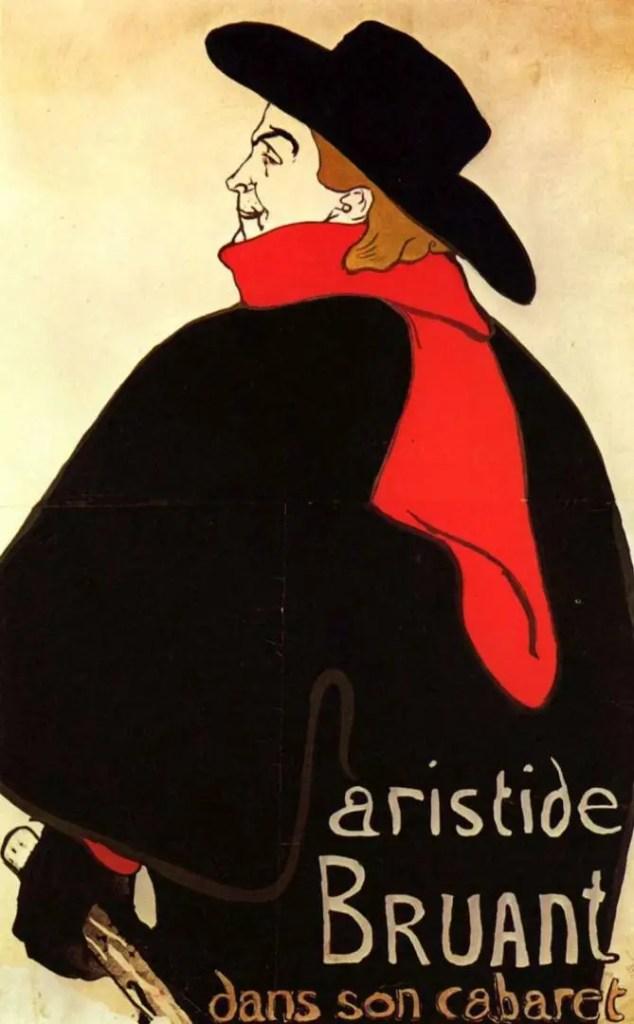 Henri de Toulouse-Lautrec, Astride Bruant dans son cabaret, 1893, litografia a colori, poster