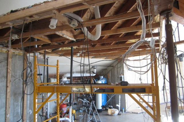 Attic rafters and scaffold
