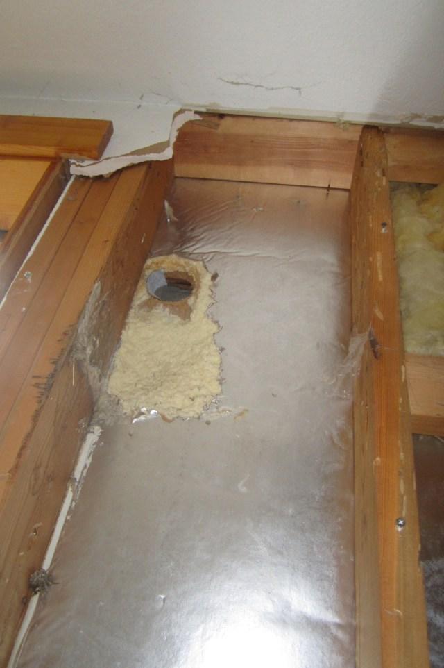 Hole in foam insulation
