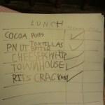 Grandson's food list