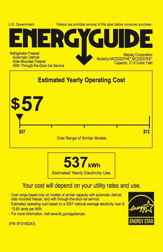 Maytag Refrigerator Energy Guide_EN