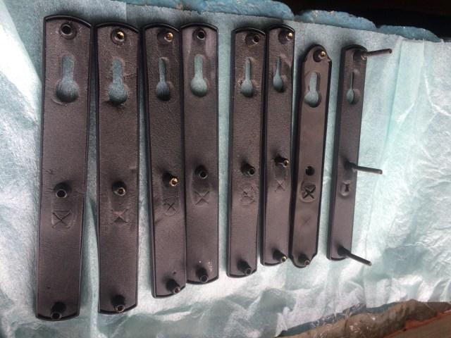 Mismatched lockset plate on right