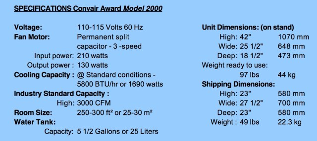 Convair Award_2000 Specs