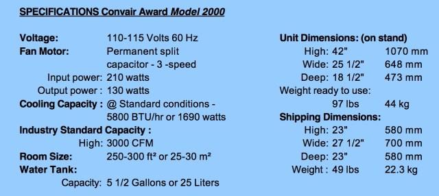 Convair Award_2000 Specs
