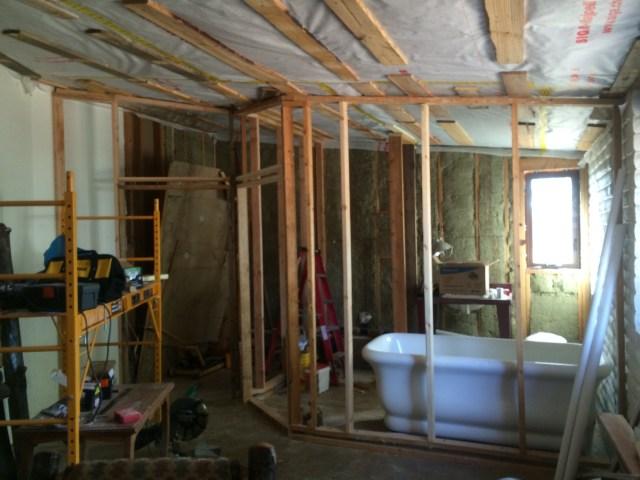 Master closet and bath walls