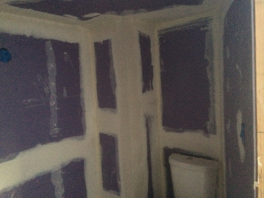 The bathroom has blueboard and Denshiled sheathing