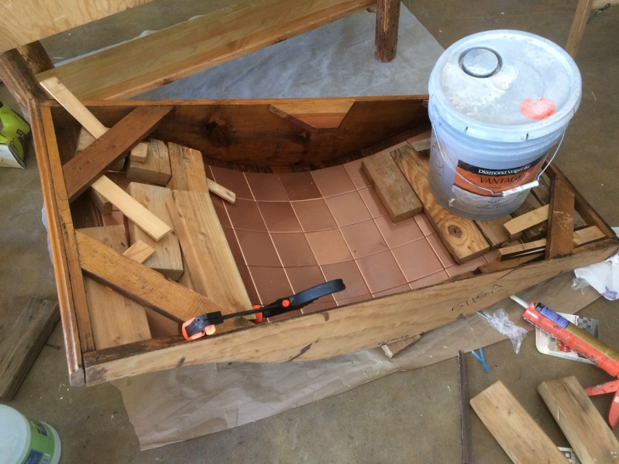 Glued copper tiles