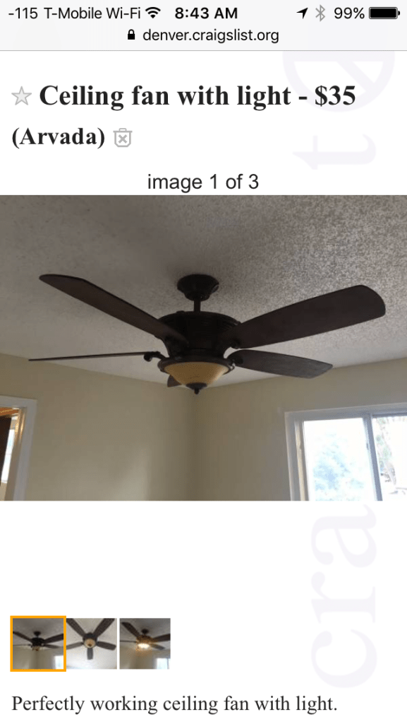 Craigslist Ad for Fan