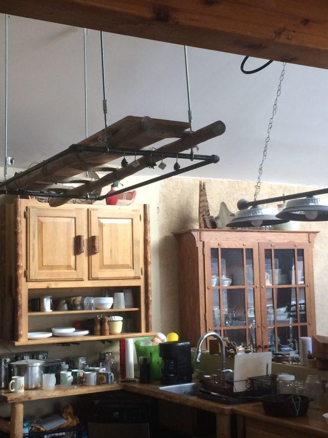 Ladder pot hanging shelf