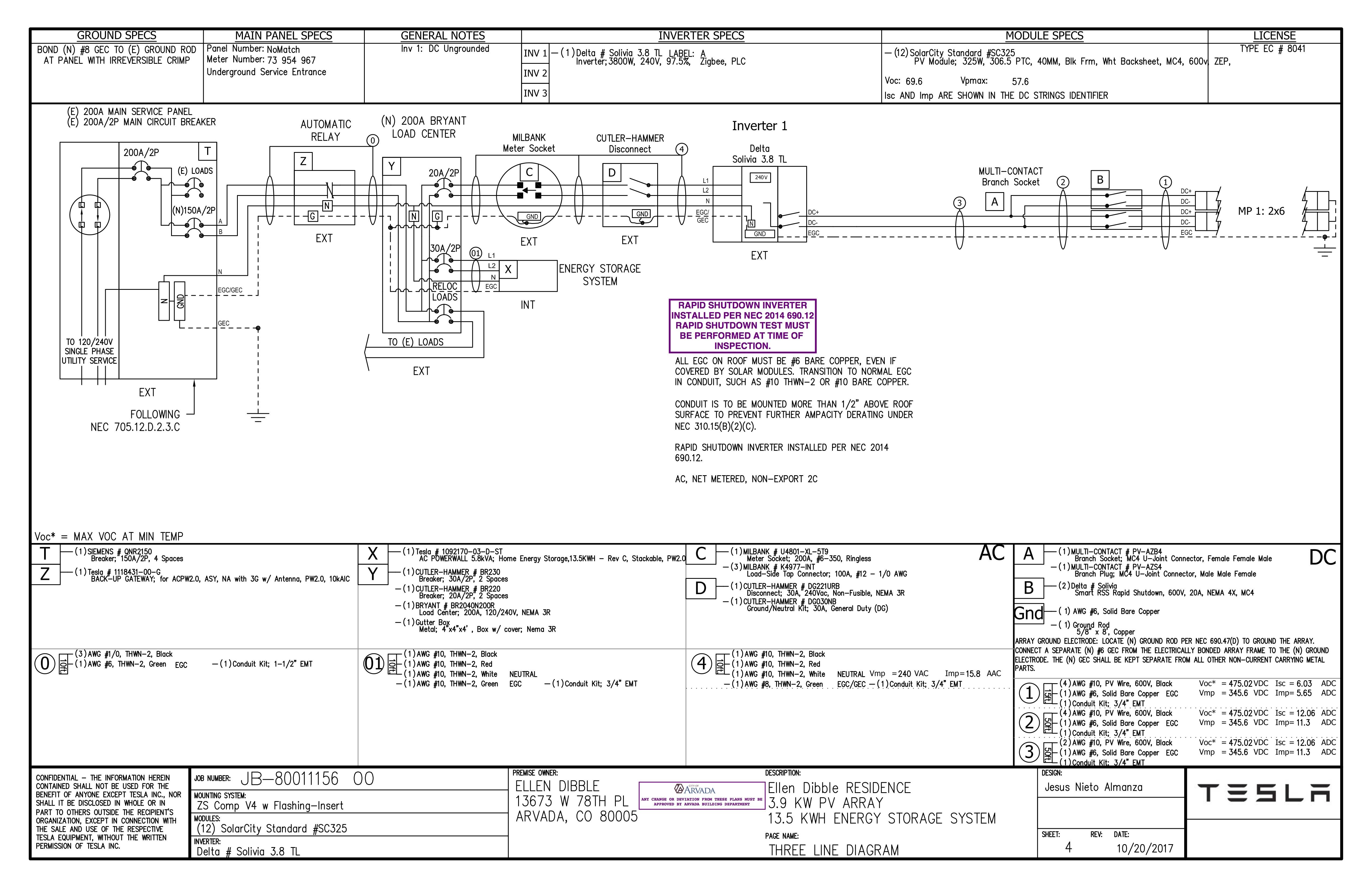 Tesla SOLAR PLAN Electrical Diagram