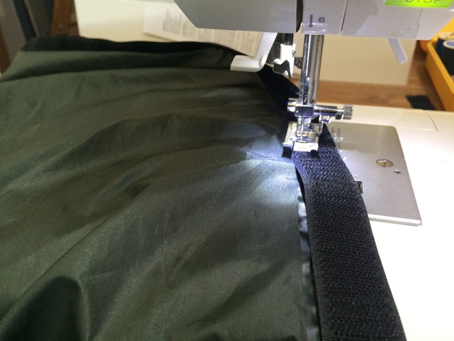 Sewing velcro on roof tarp