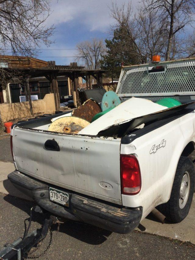 Scrap metal in truck