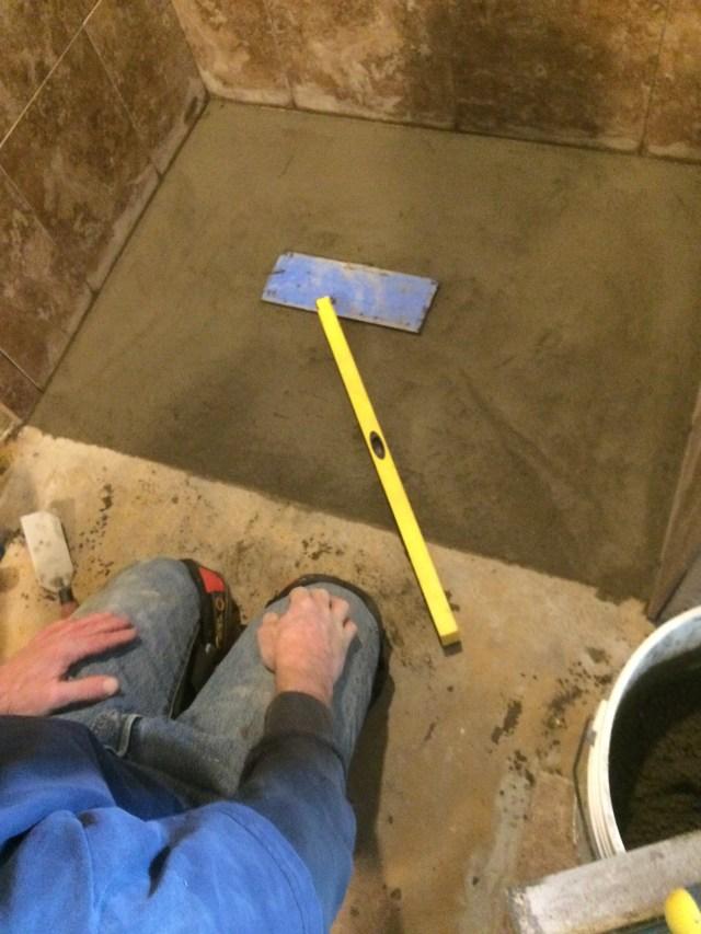 Mud bed shower pan slope