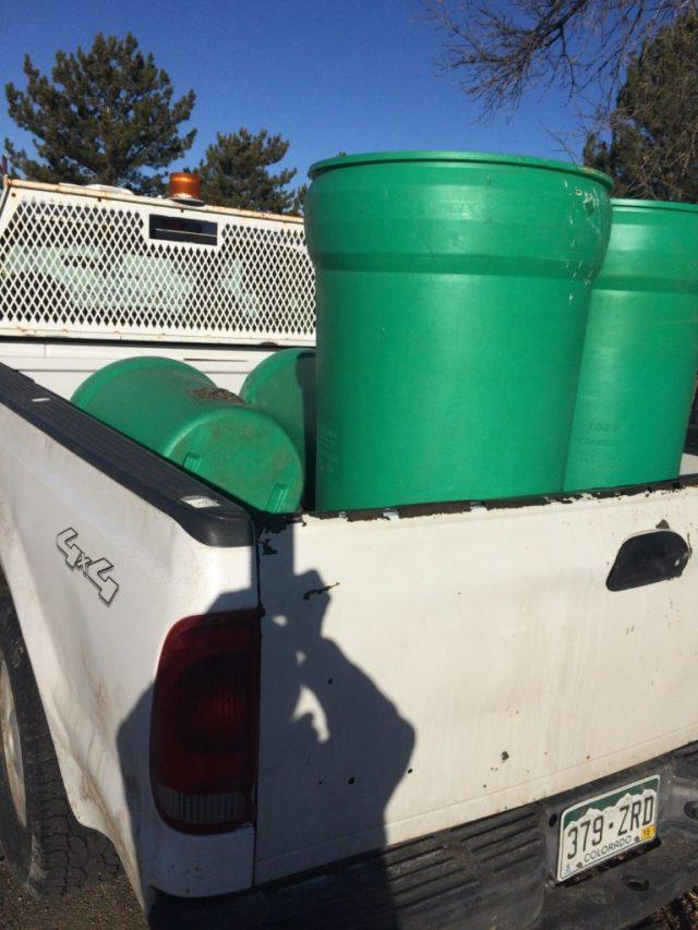 Four barrels of rubber infill