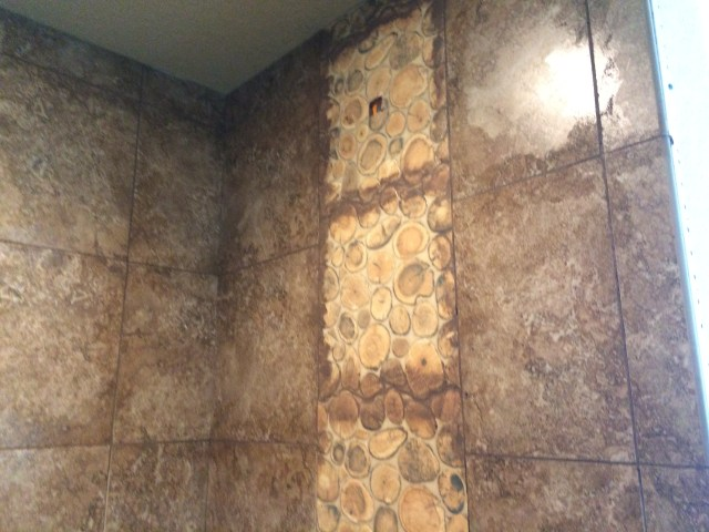 Grout on tile feature