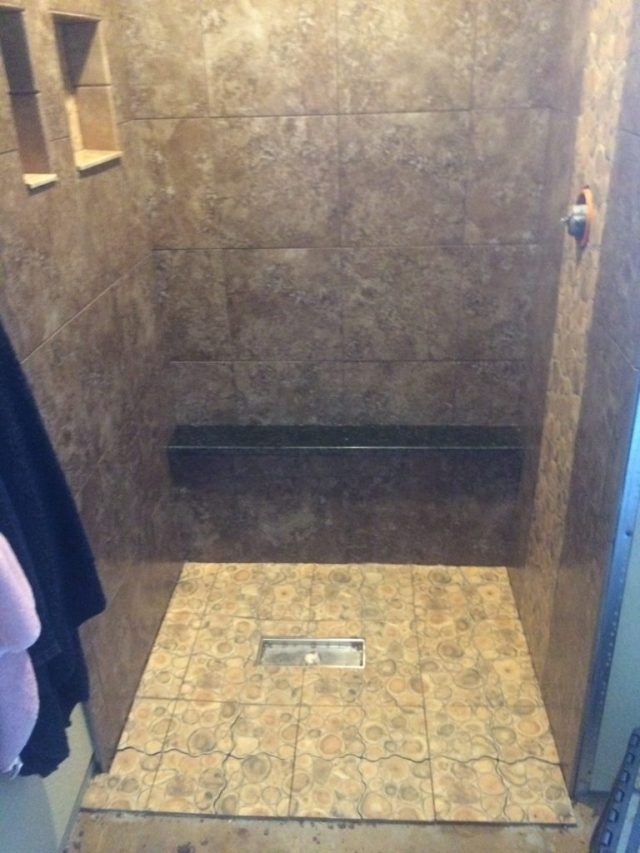Shower walls and floor grouted