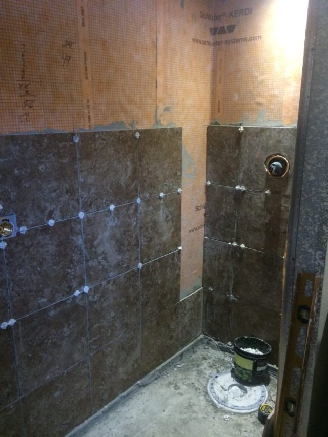 Shower wall tile install