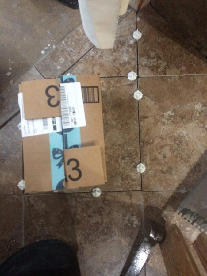 Last bathroom floor tiles mortared