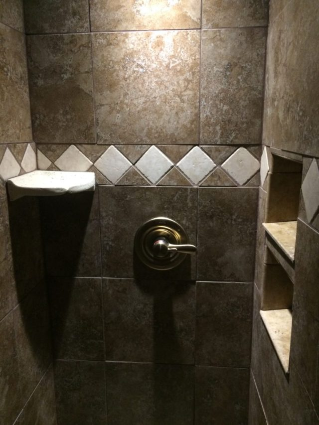 Shower control and trim installed