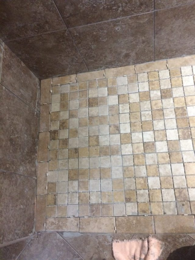 Bench side tiles mortared