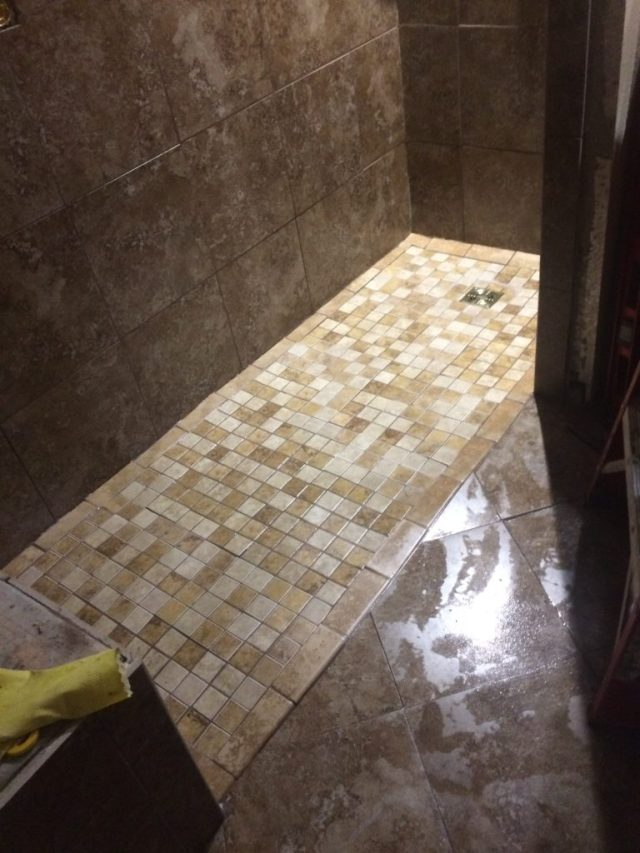 Grout in mosaic tile floor